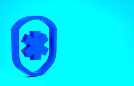 Blue Medical shield with cross icon isolated on blue background. Protection, safety, password security. Minimalism concept. 3d illustration 3D render Stok Fotoğraf
