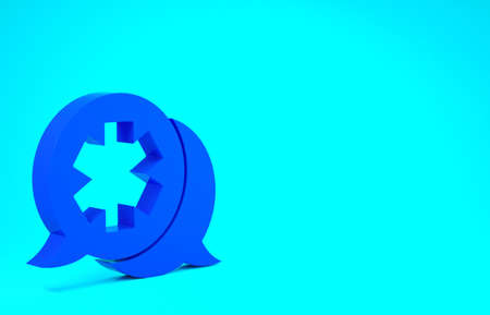 Blue Dialogue with the doctor icon isolated on blue background. Doctor and patient dialog. Consulting about medical health services. Minimalism concept. 3d illustration 3D render Stok Fotoğraf