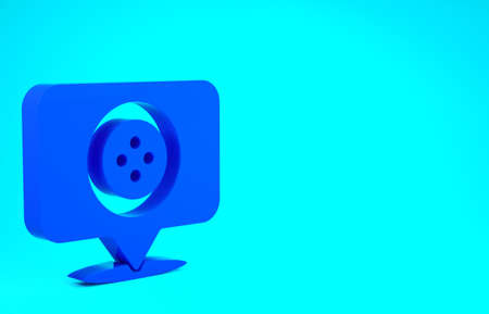 Blue Location tailor shop icon isolated on blue background. Minimalism concept. 3d illustration 3D render