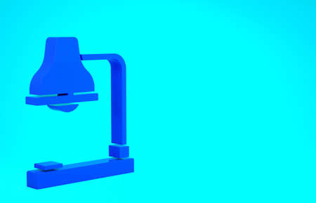 Blue Table lamp icon isolated on blue background. Table office lamp. Minimalism concept. 3d illustration 3D render Banco de Imagens