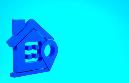 Blue Map pointer with house icon isolated on blue background. Home location marker symbol. Minimalism concept. 3d illustration 3D render Stok Fotoğraf