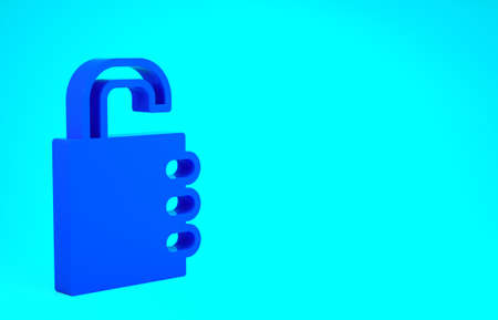 Blue Safe combination lock icon isolated on blue background. Combination padlock. Security, safety, protection, password, privacy. Minimalism concept. 3d illustration 3D render