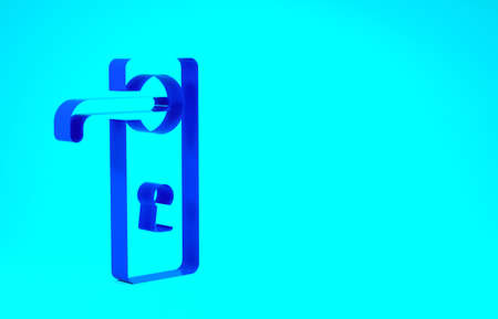 Blue Door handle icon isolated on blue background. Door lock sign. Minimalism concept. 3d illustration 3D render Stok Fotoğraf