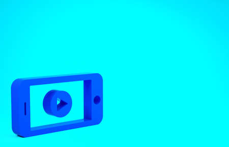 Blue Online play video icon isolated on blue background. Smartphone and film strip with play sign. Minimalism concept. 3d illustration 3D render