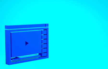 Blue Online play video icon isolated on blue background. Film strip with play sign. Minimalism concept. 3d illustration 3D render