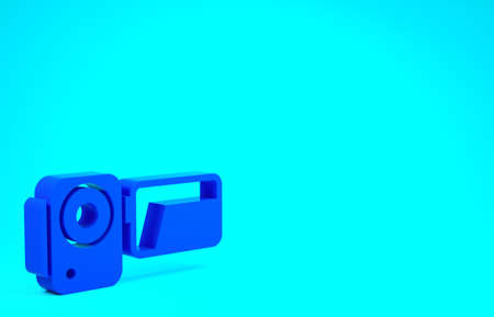 Blue Cinema camera icon isolated on blue background. Video camera. Movie sign. Film projector. Minimalism concept. 3d illustration 3D render