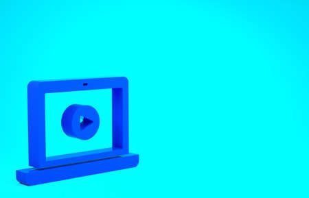 Blue Online play video icon isolated on blue background. Laptop and film strip with play sign. Minimalism concept. 3d illustration 3D render