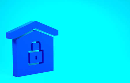 Blue House under protection icon isolated on blue background. Home and lock. Protection, safety, security, protect, defense concept. Minimalism concept. 3d illustration 3D render