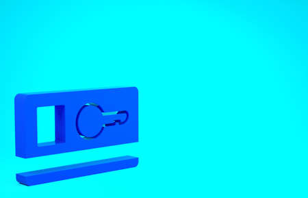 Blue Key card icon isolated on blue background. Minimalism concept. 3d illustration 3D render