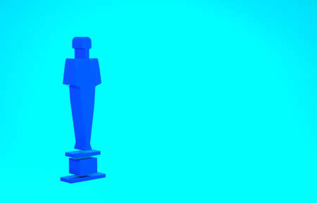 Blue Movie trophy icon isolated on blue background. Academy award icon. Films and cinema symbol. Minimalism concept. 3d illustration 3D render