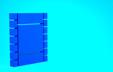 Blue Play Video icon isolated on blue background. Film strip sign. Minimalism concept. 3d illustration 3D render