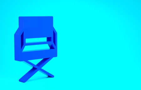 Blue Director movie chair icon isolated on blue background. Film industry. Minimalism concept. 3d illustration 3D render