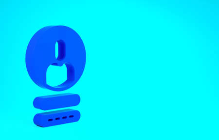 Blue Create account screen icon isolated on blue background. Minimalism concept. 3d illustration 3D render Stok Fotoğraf