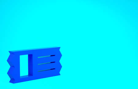 Blue Cinema ticket icon isolated on blue background. Minimalism concept. 3d illustration 3D render
