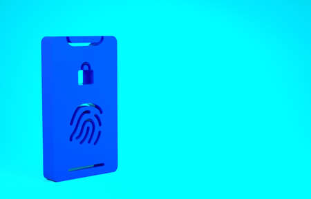 Blue Smartphone with fingerprint scanner icon isolated on blue background. Concept of security, personal access via finger on mobile. Minimalism concept. 3d illustration 3D render Stok Fotoğraf