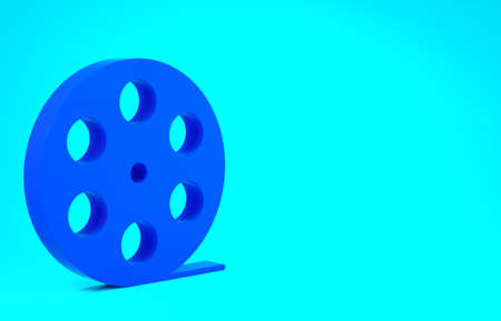 Blue Film reel icon isolated on blue background. Minimalism concept. 3d illustration 3D render Stok Fotoğraf