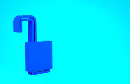 Blue Open padlock icon isolated on blue background. Opened lock sign. Cyber security concept. Digital data protection. Minimalism concept. 3d illustration 3D render