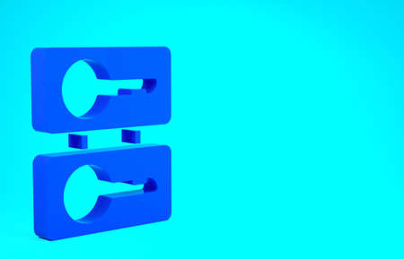 Blue Metal mold plates for casting keys icon isolated on blue background. Set for mass production and forgery of the keys. Minimalism concept. 3d illustration 3D render Stok Fotoğraf