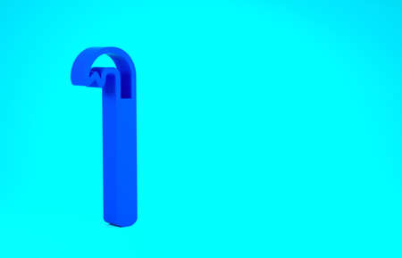 Blue Crowbar icon isolated on blue background. Minimalism concept. 3d illustration 3D render