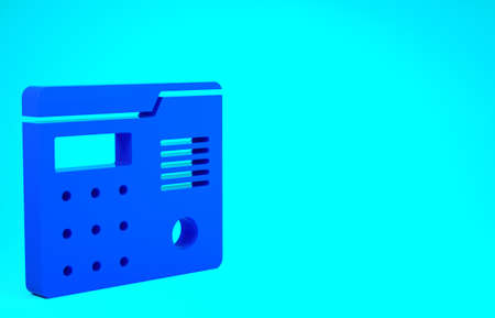 Blue House intercom system icon isolated on blue background. Minimalism concept. 3d illustration 3D render