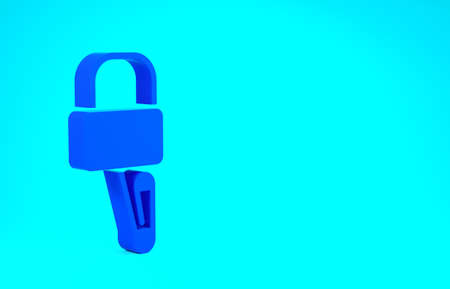 Blue Lockpicks or lock picks for lock picking icon isolated on blue background. Minimalism concept. 3d illustration 3D render