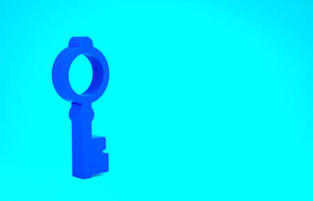 Blue Old key icon isolated on blue background. Minimalism concept. 3d illustration 3D render Stok Fotoğraf