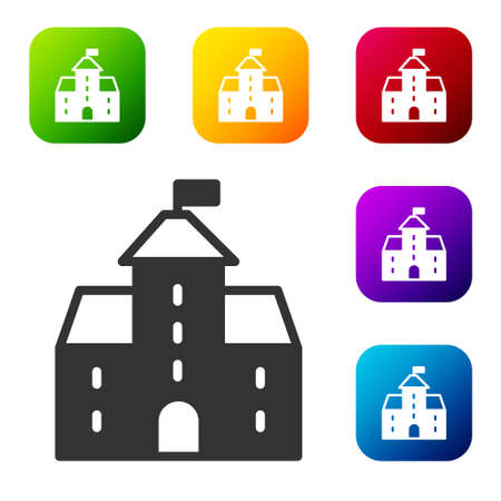 Black Castle icon isolated on white background. Medieval fortress with a tower. Protection from enemies. Reliability and defense of the city. Set icons in color square buttons. Vector Illusztráció