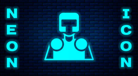Glowing neon Medieval knight icon isolated on brick wall background. Vector