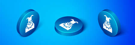 Isometric Joker head icon isolated on blue background. Jester sign. Blue circle button. Vector Ilustração