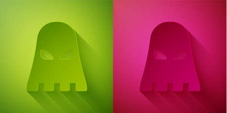 Paper cut Executioner mask icon isolated on green and pink background. Hangman, torturer, executor, tormentor, butcher, headsman icon. Paper art style. Vector Ilustração
