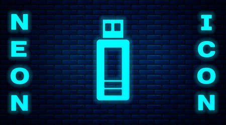 Glowing neon USB flash drive icon isolated on brick wall background. Vector
