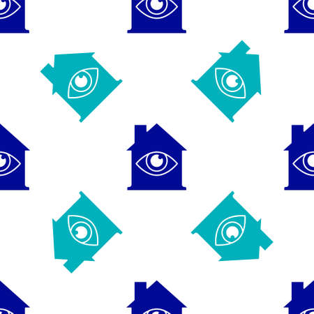 Blue House with eye scan icon isolated seamless pattern on white background. Scanning eye. Security check symbol. Cyber eye sign. Vector