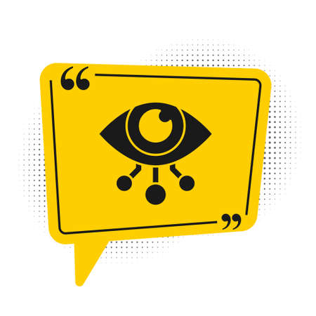 Black Eye scan icon isolated on white background. Scanning eye. Security check symbol. Cyber eye sign. Yellow speech bubble symbol. Vector