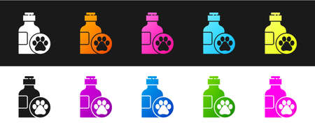 Set Pet shampoo icon isolated on black and white background. Pets care sign. Dog cleaning symbol. Vector