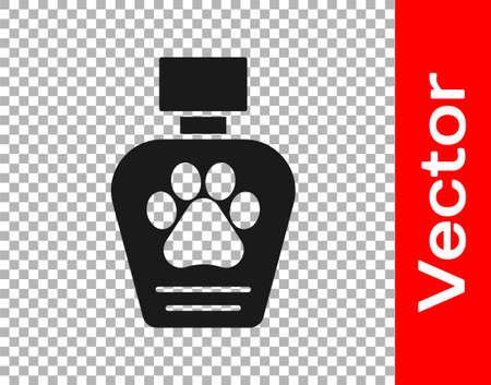 Black Pet shampoo icon isolated on transparent background. Pets care sign. Dog cleaning symbol. Vector