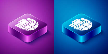 Isometric Head hunting icon isolated on blue and purple background. Business target or Employment sign. Human resource and recruitment for business. Square button. Vector
