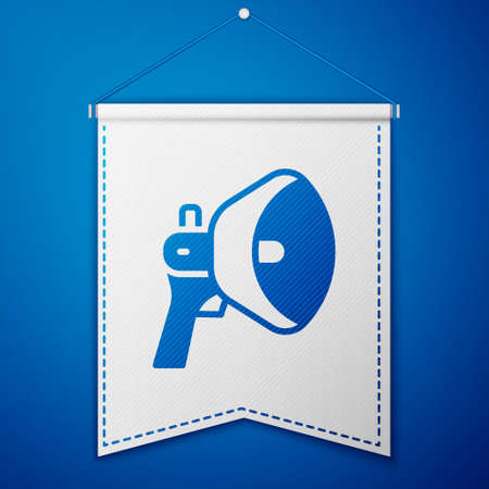 Blue Megaphone icon isolated on blue background. Speaker sign. White pennant template. Vector
