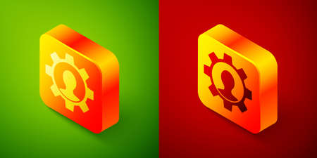 Isometric Human with gear icon isolated on green and red background. Artificial intelligence. Thinking brain sign. Symbol work of brain. Square button. Vector