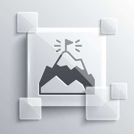 Grey Mountains with flag on top icon isolated on grey background. Symbol of victory or success concept. Goal achievement. Square glass panels. Vector Illustration
