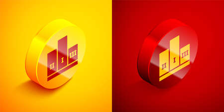 Isometric Award over sports winner podium icon isolated on orange and red background. Circle button. Vector