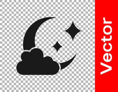Black Cloud with moon icon isolated on transparent background. Cloudy night sign. Sleep dreams symbol. Night or bed time sign. Vector