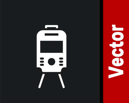 White Tram and railway icon isolated on black background. Public transportation symbol. Vector