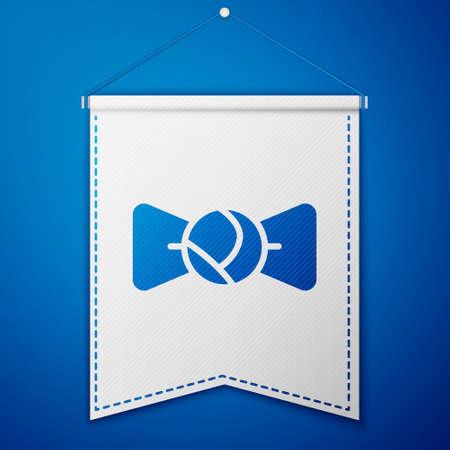 Blue Bow tie icon isolated on blue background. White pennant template. Vector Illusztráció