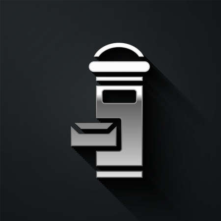 Silver Traditional London mail box icon isolated on black background. England mailbox icon. Mail postbox. Long shadow style. Vector