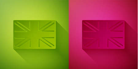 Paper cut Flag of Great Britain icon isolated on green and pink background. UK flag sign. Official United Kingdom flag. British symbol. Paper art style. Vector Illustration
