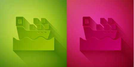 Paper cut Cargo ship with boxes delivery service icon isolated on green and pink background. Delivery, transportation. Freighter with parcels, boxes, goods. Paper art style. Vector
