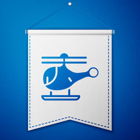 Blue Helicopter aircraft vehicle icon isolated on blue background. White pennant template. Vector