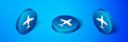 Isometric Plane icon isolated on blue background. Flying airplane icon. Airliner sign. Blue circle button. Vector Illustration