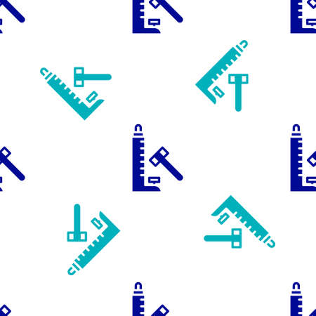 Blue High striker attraction with big hammer icon isolated seamless pattern on white background. Attraction for measuring strength. Amusement park. Vector