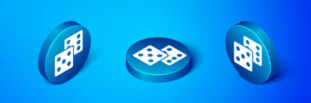 Isometric Game dice icon isolated on blue background. Casino gambling. Blue circle button. Vector Ilustração